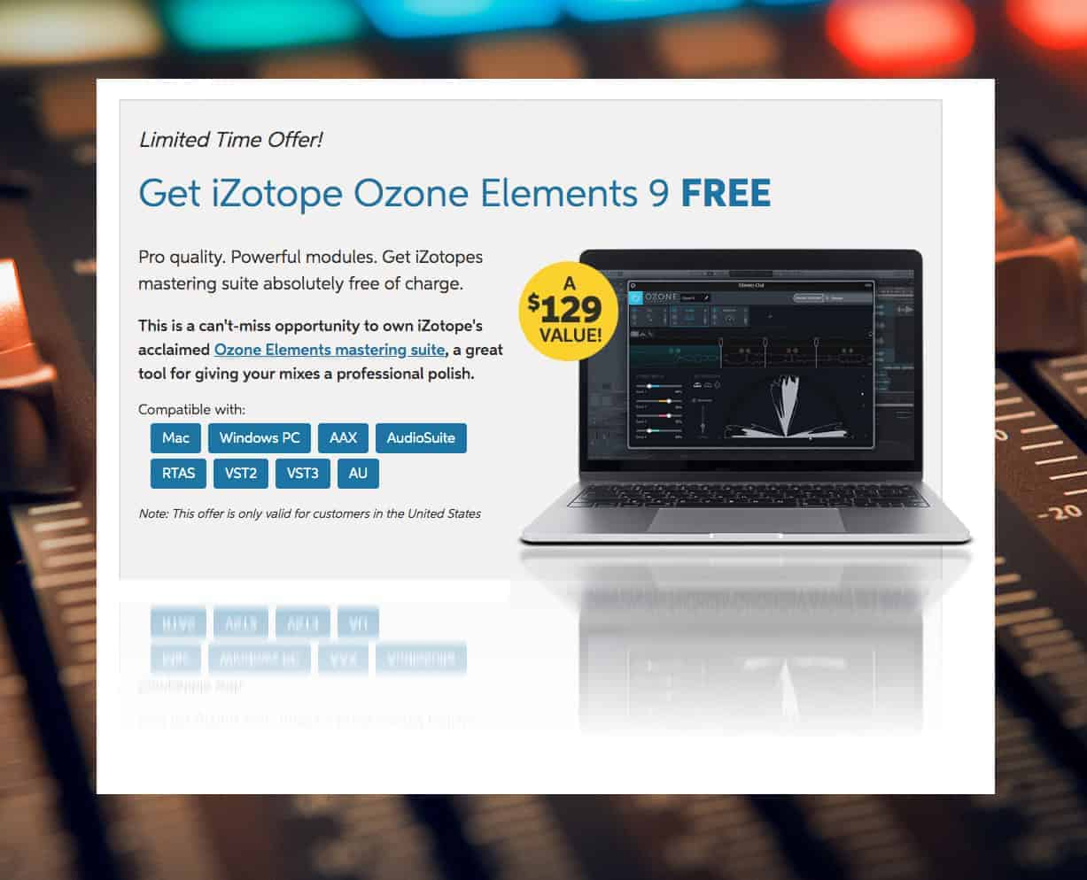 FREE iZotope Ozone 9 Elements Plugin From Sweetwater | April 2020
